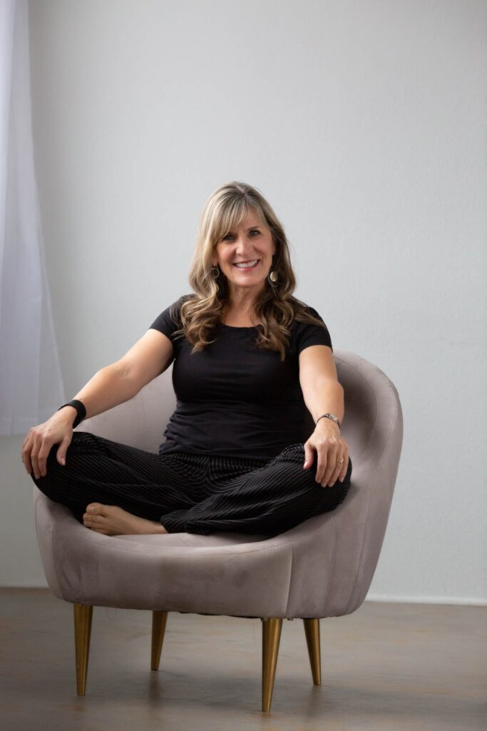 Personal Branding Denver woman seated comfortably on chair